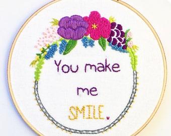 Custom Hoop Embroidery Wall Hanging - Embroidery Hoop Art