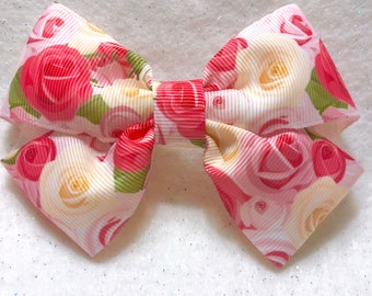 Girly Rose Bouquet Hair Bow