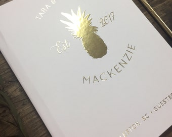 Pineapple Wedding Guestbook. Gold Foil Custom Wedding Guestbook. Southern Wedding Pineapple Theme Guest Sign in book. Custom Weddnig Gift