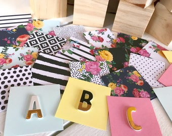 Baby Shower Block Kit, 10 Blocks, Cut out 2 inch squares + letters to spell baby's name, Floral, Black & White, Pink, Teal, Yellow