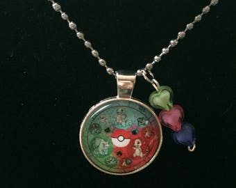 Handmade Bulbasaur Charmander Squirtle Necklace with Charm