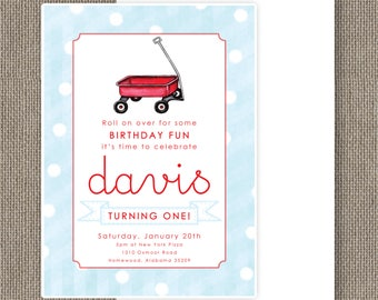 Little Red Wagon Birthday Invitation