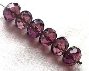 Ten  Czech glass faceted cruller beads, 7 x 10mm transparent amethyst. purple and pink mix, sale price 03101