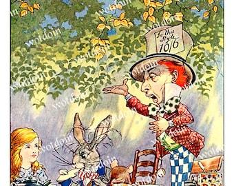 Mad Hatter Tea Party Alice in Wonderland Color Print Digital Download Image Transfer Printable