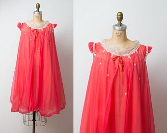 1960s Babydoll Peignoir / 60s Coral Pink Nylon Chiffon Nightgown