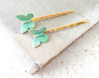 Green Butterfly Hair Pins - Aqua Butterfly Bobby Pins - Butterfly Hair Pin Set - Green Aqua Patina Butterfly Bobby Pin - Butterfly Wings