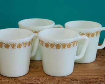Butterfly Gold Coffee Cups    Pyrex Butterfly Gold Coffee Mugs, Set of 4, Vintage Pyrex Cups, Retro Coffee Mugs, Pyrex Mugs