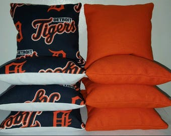 Set Of 8 Detroit Tigers Cornhole Bean Bags FREE SHIPPING