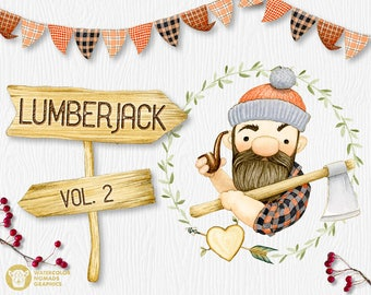 Lumberjack Clipart, Dude, Buffalo Plaid Digital Paper, Fathers Day, Men clipart, Camping clipart, Woodland illustrations, Axe, Arrow, Tent