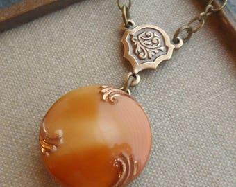 Vintage German Glass Button Necklace, Caramel Brown, Dulce de Leche