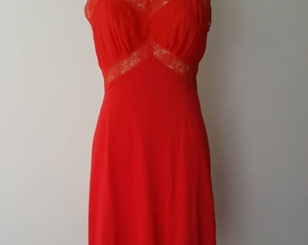50s Charmode Hot Red Full Slip - 34