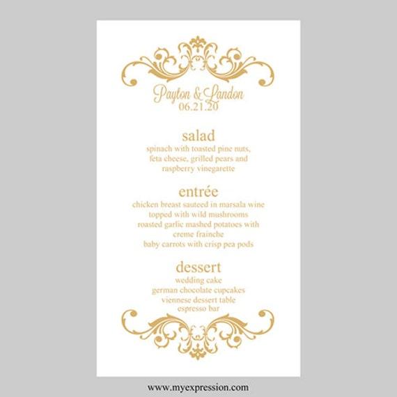 Wedding Menu Card Template Vintage Scrolls Gold Instant - Menu place cards template