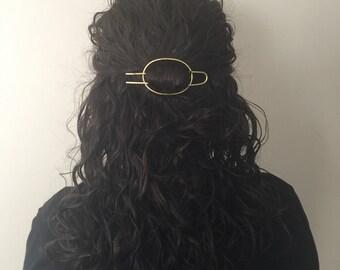 Brass Oval Hair Clip With Hair Fork- hair slide minimalist bohemian gold womens gift barrette hair pin yoga organic eco hair accessories