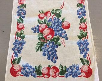 Vintage Fruit Towel Grapes Apples Retro Kitchen Tea Towel
