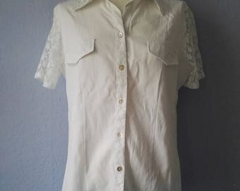 90s blouse true vintage M white spring flowers of classic Lady boho lace summer