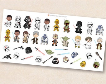Star Wars Stickers, Chibi kawaii Star Wars characters ,illustration stickers, erin condren, life planner