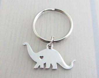 Dinosaur Charm Keychain, Animal Keyring, Herbivore Keyring, Stainless Steel Keyring, Diplodocus Charm, Dinosaur Gift, Animal Lover Gift