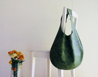 Army Green Oiled Genuine Italian Leather Hobo bag, Over Size, Slouchy, Shoulder bag