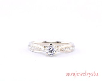 Engagement ring in Platinum or 14k with --  G SI1 diamonds ring/ wedding ring jewelry/a classic frame for your center diamond(Setting ONLY)