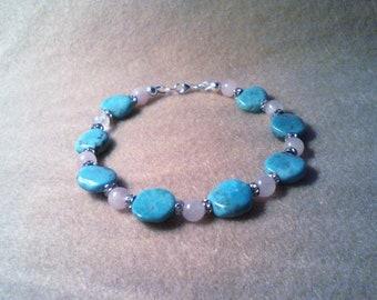 Kingman Turquoise & Rose Quartz Bracelet, Turquoise and Rose Quartz Bracelet, Turquoise Bracelet, Rose Quartz Bracelet, Turquoise and Silver