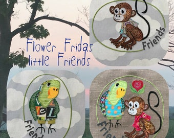 2 cute little Friends in 3 different Machine Embroidery Designs - Cute Handdrawn Appliqué Motifs for numerous projects