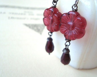 Cranberry Daisy and Garnet Earrings Sterling January Birthstone Flower Jewelry Sterling Silver Gifts Under 30