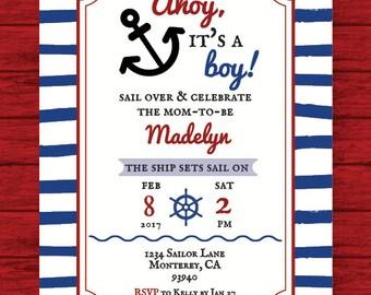 Ahoy, It's A Boy! Baby Shower Invite (DIGITAL FILE)