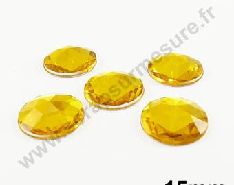 Paste rhinestone round - gold - 15mm - x 5pcs