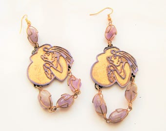 Earrings art deco, 1930 earrings, Amethyst earrings, the twins