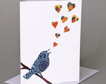Love Song: A nature-inspired blank notecard, valentine, anniversary, birthday, wedding, bird, orange & blue hearts
