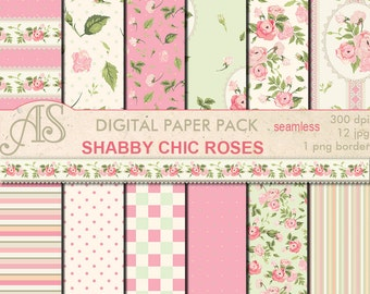 Digital Shabby Chic Pink Roses Seamless Paper Pack, 12 printable Digital Scrapbooking papers, retro roses, Instant Download, set 133