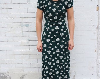 Vintage Stretchy Knit 90s Daisy Floral Print Maxi Dress- Size Small