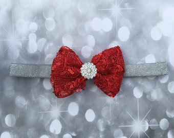 Red and Silver Bow,Red Headband,Christmas Headband,Christmas Bow,Baby Headband,Headband,Red Bow Headband,Baby Gift,Christmas Gift