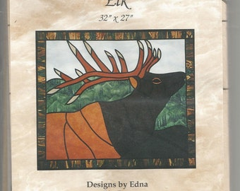Stained Glass Elk Quilted Wallhanging Wall Quilt Pattern Fusible Web Fusible Bias Tape Designs 32X27 Inches by Edna Trunt