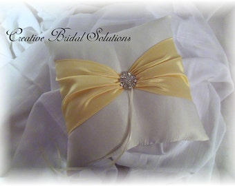 Ivory and Yellow Wedding Ring Bearer Pillow