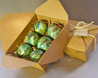 Handmade, Paper Mache Christmas Tree Ornaments-  Jade Green  2 & 1/2 inch Set of 6-Art for the Trees!