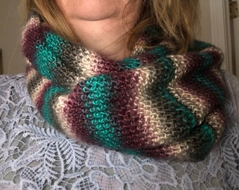 Hand Knitted Infinity Scarf by BritKnitWits - Teal/Maroon    Free shipping
