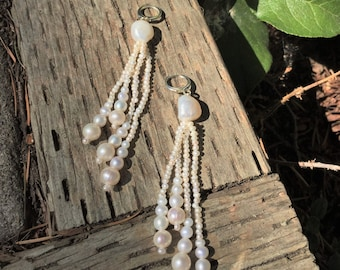 Pearl Earring White Tassel jewelry fashion unique 3.5'' dangle drop wedding