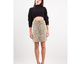Vintage mini skirt / 1980s Cheetah animal print velvet high waist pencil skirt / S