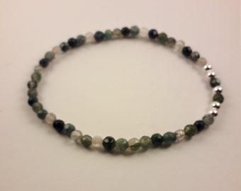 Green Moss Agate Faceted Bead Stretchy Stacking Bracelet Sterling Silver 4mm Beads