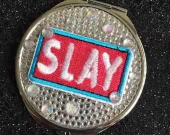 Slay mirror - pocket mirror, compact mirror, double sided mirror, slay all day, slay pocket mirror, slay compact mirror, bling mirror