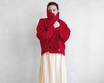 red wool coat / oversized minimalist red coat / 80s red coat / cross bodice coat / short wool wrap coat / winter red coat / avant garde coat