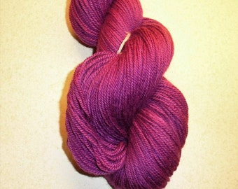 Violet  Handdyed Corriedale Wool DK Weight Yarn, 4-ply, For Knitting, Crochet and Felting