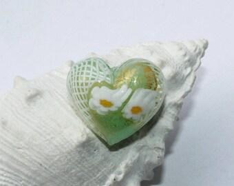 Murano glass beads, Millefiori, heart, for pendants, charmsanhänger, 1Blattgold,seegrün, 21 x 18 mm