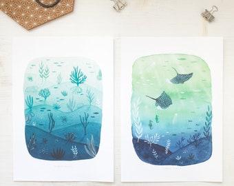 blue green giclee print, sea lover print, A4 giclee art print set, giclee print set of 2, manta ray, archival print, archival print giclee