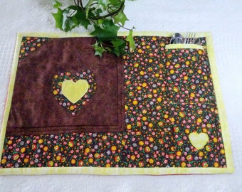 Placemat (1) Hand Made,  Quilted, Patchwork