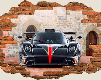 3D Hole In Wall Pagani Zonda Revolucion Revolution View Wall Decal Sticker  Frame Mural Effect Home