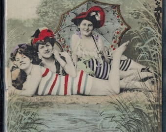 Antique Bathing Beauties Swimsuits Postcard Postmarked 1908