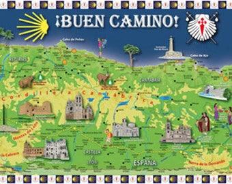 Camino de Santiago Buen Camino Large Pilgrim Souvenir Map