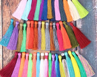 Silky Luxe Jewelry Tassels, Pantone Colors, Fringe Charms for Necklace, Earrings & More, Festival Fashion, Handmade, You Choose 3+ Colors